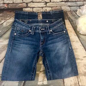 D9 Gem Accent Straight Cut Sandblasted Jeans